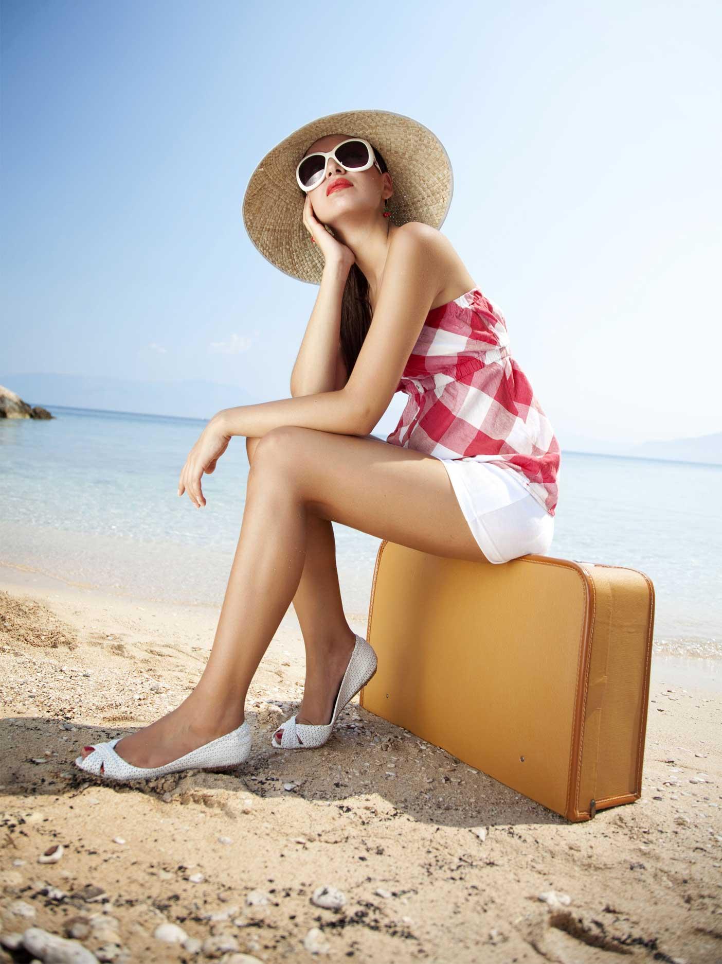 Tourist traveler on background view mockup